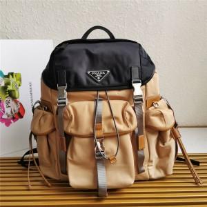 PRADA普拉达官网日本代购网站织物与 Saffiano 皮革背包双肩包2VZ074