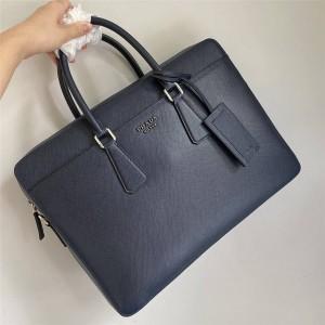 PRADA普拉达官网奢侈品代购新款男士Saffiano Cuir皮革公文包2VE368