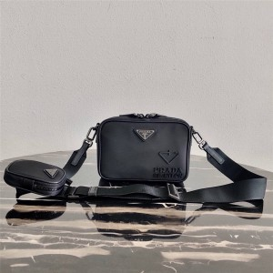 Prada普拉达官网Brique Re-Nylon 再生尼龙和Saffiano 皮革手袋2VH070